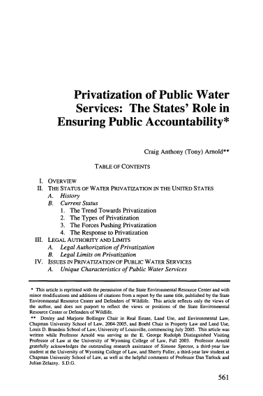 2005 Arnold Privatization of Public Water Services 1