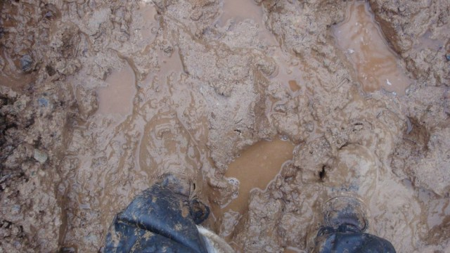 Muddy Boots at the Solar Array Mount