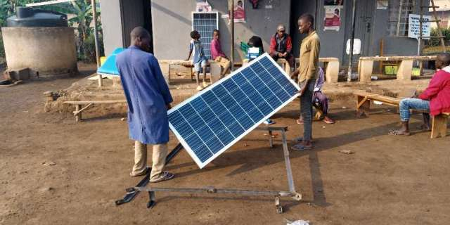 Crew Assembling Solar Array