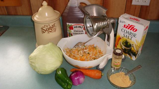 Ingredients and Equipment to Make Freezer Slaw