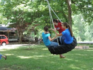 The new tire swing was a big hit yesterday