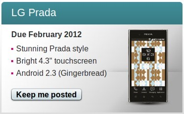 T Mobile UK LG Prada 3.0 coming soon LG Prada 3.0 start selling in UK on february
