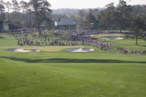 View of the 2nd (left) and 7th greens at Augusta National Golf Club