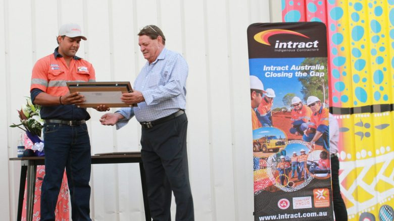 Intract staff member receiving his award at Intract North's Inaugural NAIDOC Event