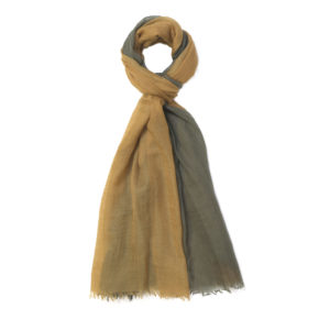 Scarf Intreccio BIcolor 100% Cashmere - Green - Gold