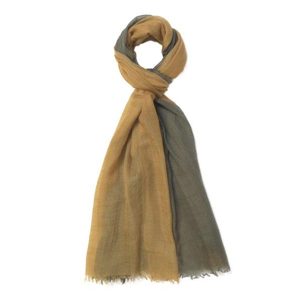 Scarf Intreccio BIcolor 100% Cashmere - Green - Gold