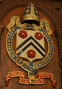 Church arms and seals Arms of Winchester College incorporating Bishop Wykeham's personal arms and that of the See of Winchester
