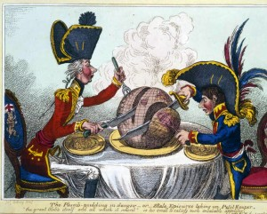 Pitt and Napoleon vicious cartoons featured during the Napoleonic Wars