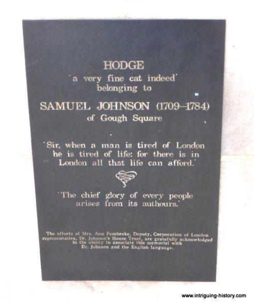Plaque Samuel Johnson and Hodge