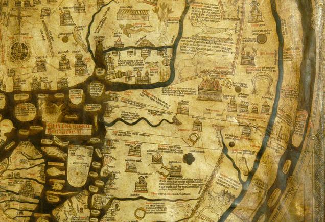 Mappa Mundi 1300 intact at Hereford Cathedral