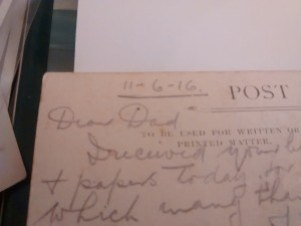 Dear Dad Postcard from WW1 in pencil written by Private EJ Mooe