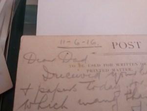 Dear Dad Postcard from WW1 in pencil written by Private EJ Mooe