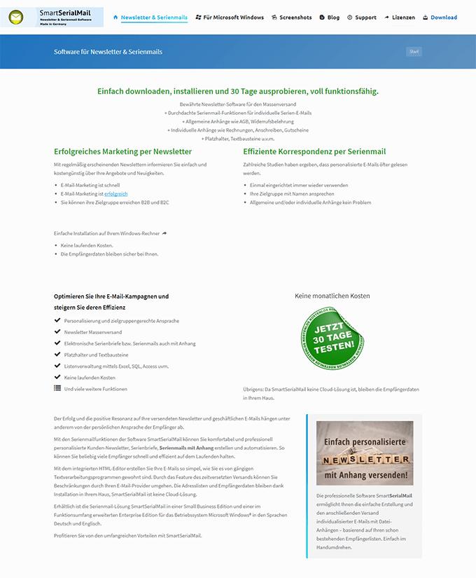 Screenshot der Webseite serialmail.net