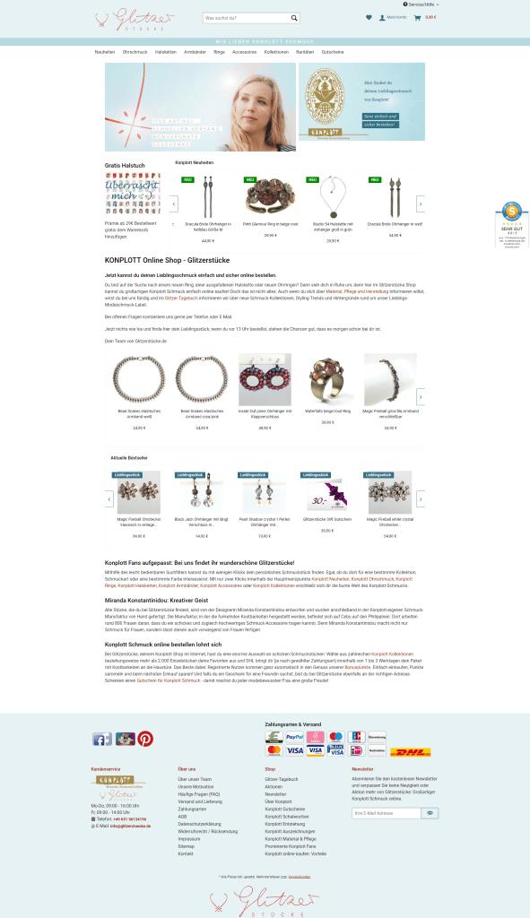 Screenshot des Webshops Glitzerstücke