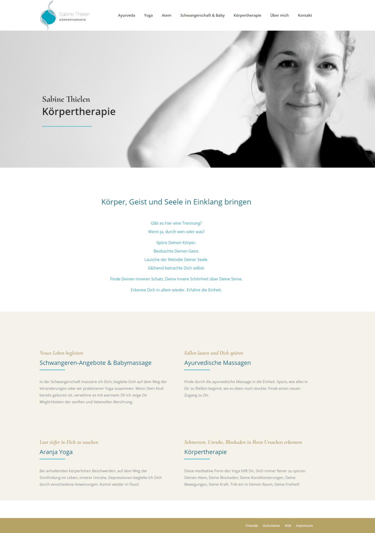 Screenshot der Webseite von Sabine Thielen