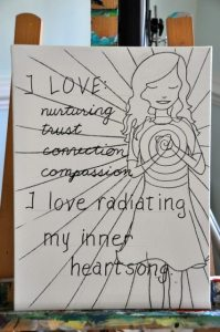 Step 1: sketch the words and images of each chakra onto a canvas with pencil, then trace with black ink.