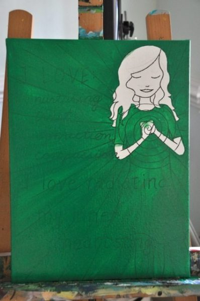 Step #2:  Paint the background base color.  For the heart chakra, this is a gorgeous green!