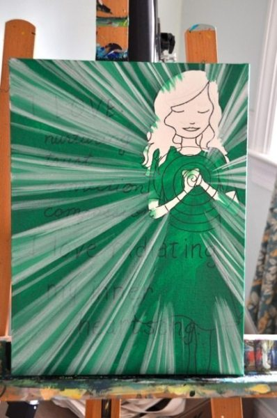 Step #4 (and 5 & 6...):  paint additional layers  light radiating from the heart using various shades of green and white.