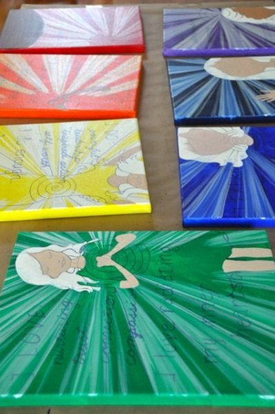 Repeat again and again on different canvases... one for each of the 7 chakras!
