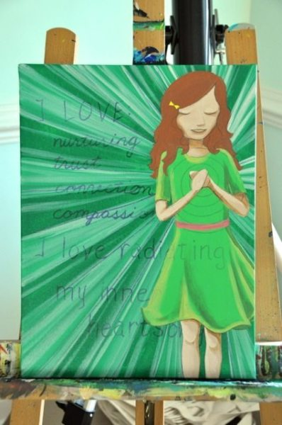 Fill in hair background color and foreground details on the dress and skin.