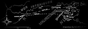 Fig. 5 : Carte de l'Afrique du Nord et de la marche de Marius (Berthier. A., Déclamer. L. R. et Ouasli. C. 2001-02: Fig.1)