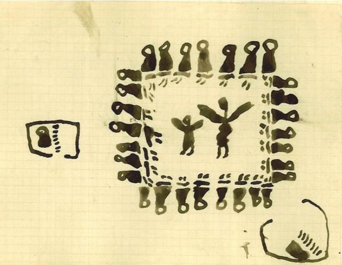 Fig. 7 Deux circoncisions. Abdelbaki Temissa, fraction des Ouled Khallaf, 11 ans. Fonds Thérèse Rivière, musée du quai Branly. Les hommes assis entourent deux danseuses. Chacun chez soi, les jeunes garçons au pied du hiji