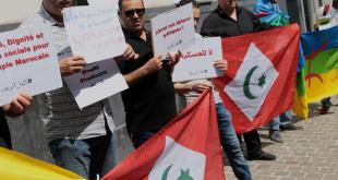 Manifestation organisée ce jeudi devant le consulat du Maroc à Lille. Photo Baziz Chibane
