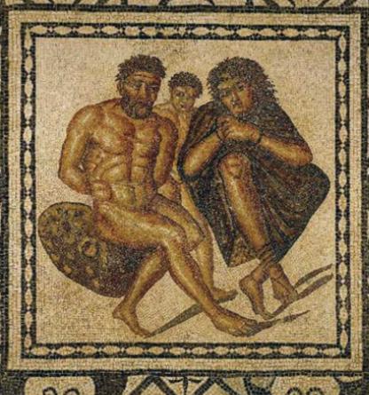 Mosaïque représentant des berbères prisonniers enchainés : « mosaïque des captifs », Ier siècle apr. J.-C. Musée de Tipaza (Tipasa), Algérie. © DeAgostini/Leemage.