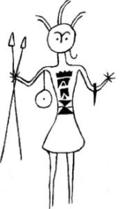 Gravure rupestre de l'Aïr (Niger). Ce guerrier berbère est facilement reconnaissable à sa coiffure avec certainement des plumes d'autruches au-dessus de la tête et une tresse sur le côté. Il porte les armes traditionnelles berbères (petit bouclier rond, poignard de bras et javelines). Sa tunique courte est ornée de motifs géométriques de forme triangulaire.