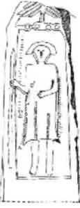 Stèle de Tirekabine (Rit, n° 817). Ce personnage porte une longue tunique, probablement en cuir ou en tissus, à franges latérales.
