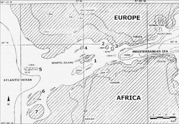 Figure 1. Le détroit de Gibraltar vers 21/19 000 BP (zones émergées en hachurés, dont les îles et îlots numérotés). En 7, l'île submergée en 19000 BP, tandis que Ies2à6 le seront vers 14 000 BP ; les sommets de l'île du Cap-Spartel (1) et de l'île Nord (5) seront engloutis vers 11000 BP. (J. Collina-Girard)