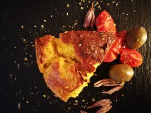 torta di ricotta , curry e curcuma