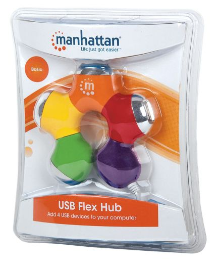Hub USB multicolor de 4 puertos. Manhattan. Foto de caja