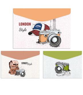 Foto 1. Sobres de carton con velcro, diseño cámaras