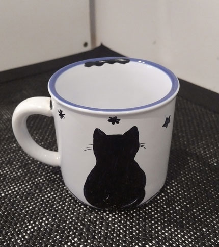 Foto 5 - Taza Retro Mini - Diseño gato de espaldas con estrellas