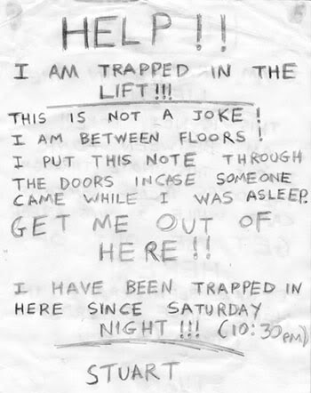 Trapped in a lift note