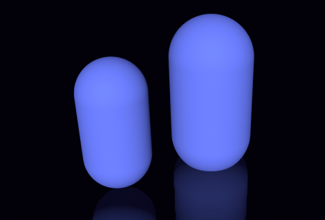 Figure 9. Two capsules of different height and radius.