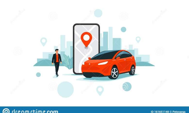 online car sharing service remote controlled via smartphone app city transportation vector illustration autonomous phone 161651148