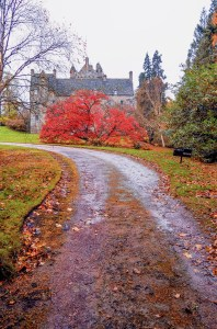 A side view of Cawdor Castle in autumn