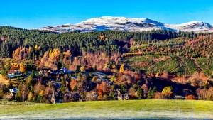 Landscape shows Strathpeffer in glorious autumn sunshine