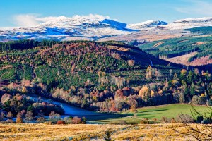 Landscape scene with frost in the glen and autumnal colours