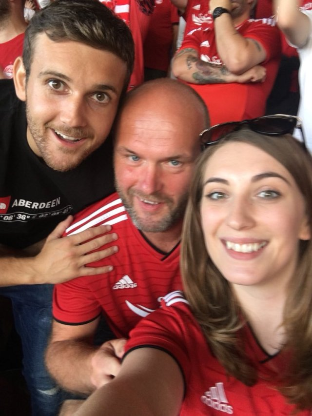 @ColinMcLean70 - Sun burn and high blood pressure at football; not a great combination. Fit to drop. #aberdeenfc #standfree