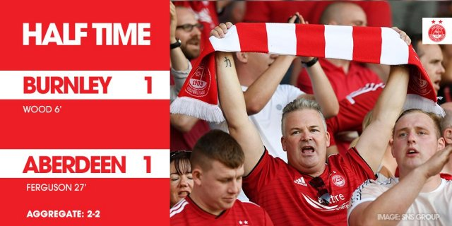 @AberdeenFC - Half time at Turf Moor and it's all square as Lewis Ferguson's spectacular effort gets The Dons back in the tie following Wood's early strike.