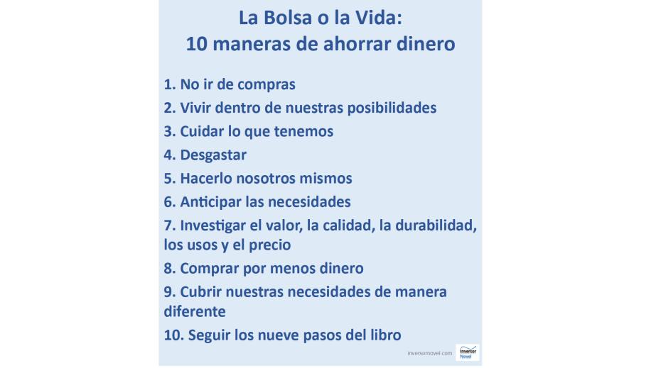 Las 10 maneras principales de ahorrar según el libro La Bolsa o la Vida de Vicki Robin.