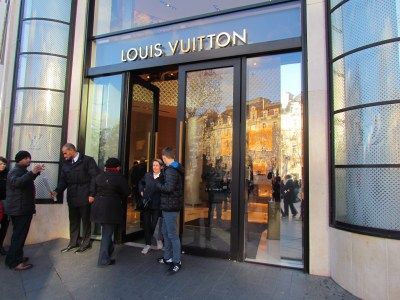 Security checks outside Louis Vuitton