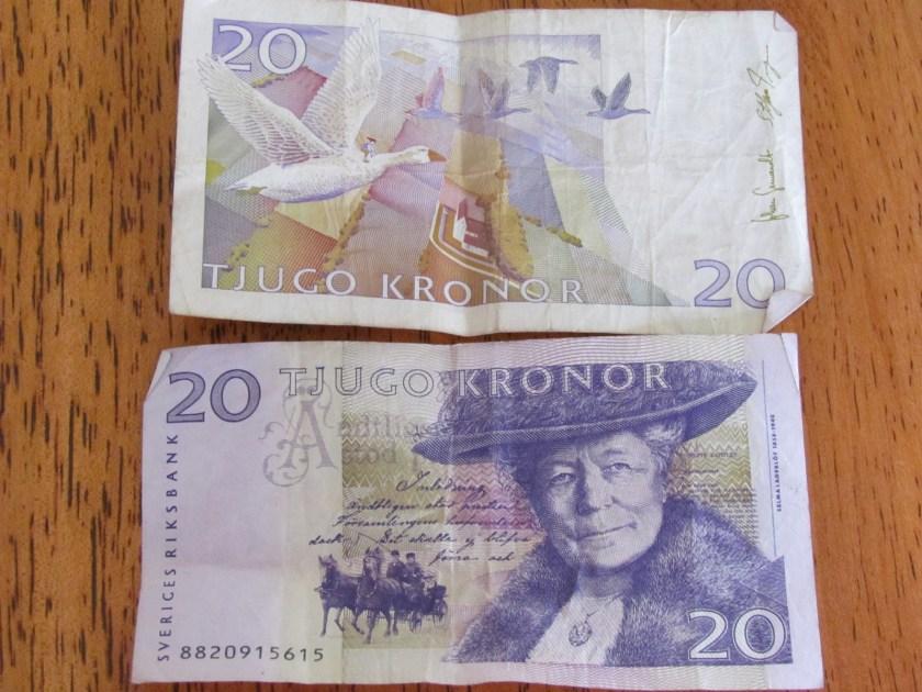 Selma Lagerlöf on 20 Kronor banknote