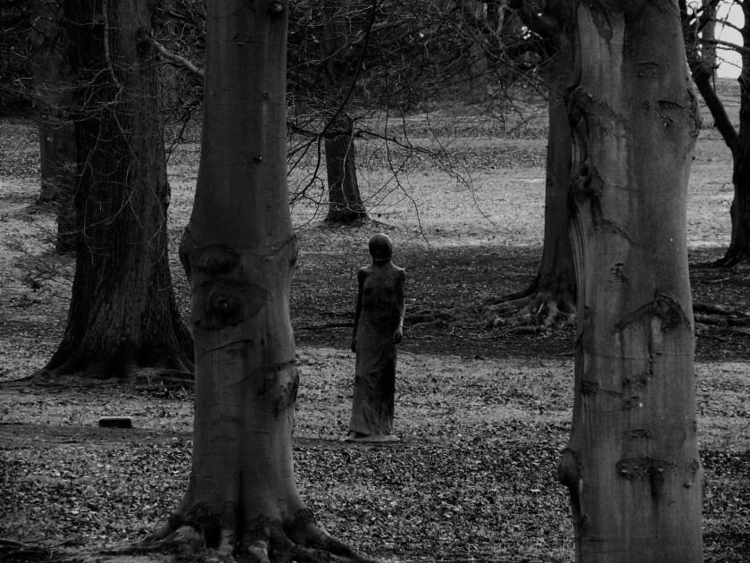Creepy woman sculpture in the woods, Chatsworth