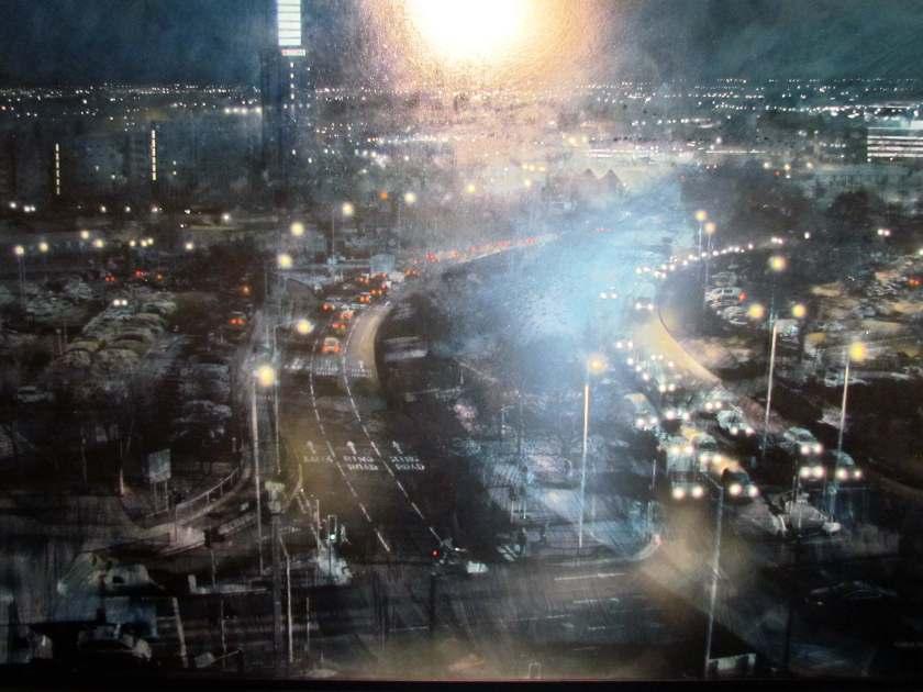 painting of wolverhampton at night - art gallery - a rainy Saturday in Wolverhampton