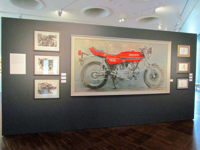painting of a red motobike - art gallery - a rainy saturday in Wolverhampton