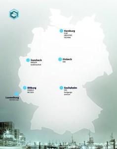 Unternehmensstandorte der ELBE Industrietechnik